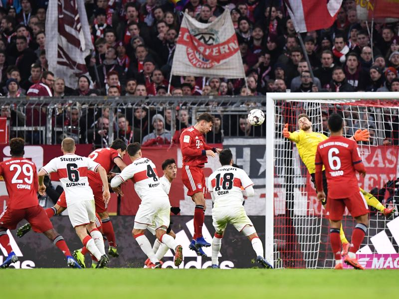 Bayern v VfB Stuttgart - Leon Goretzka of Bayern Munich (C) scores his team's third goal past Ron-Robert Zieler of VfB Stuttgart during the Bundesliga match between FC Bayern Muenchen and VfB Stuttgart at Allianz Arena on January 27, 2019 in Munich, Germany. (Photo by Sebastian Widmann/Bongarts/Getty Images)