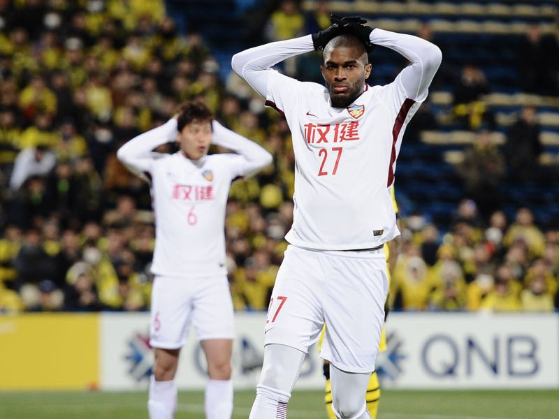 Anthony Modeste of Tianjin Quanjian reacts after missing a chance during the AFC Champions League match between Kashiwa Reysol and Tianjin Quanjian at Sankyo Frontier Kashiwa Stadium on February 20, 2018 in Kashiwa, Chiba, Japan. (Photo by Matt Roberts/Getty Images)