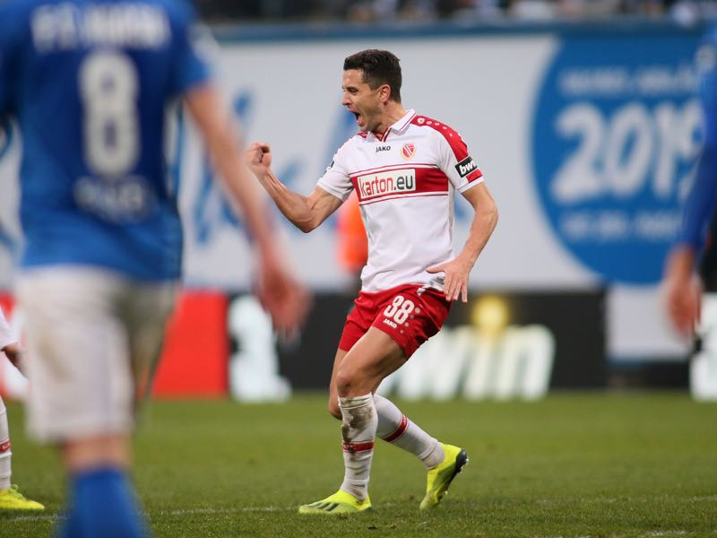 Dimitar Rangelov of Energie Cottbus celebrates his team's second goal scoring during the 3. Liga match between F.C. Hansa Rostock and FC Energie Cottbus at Ostseestadion on December 22, 2018 in Rostock, Germany. (Photo by Selim Sudheimer/Bongarts/Getty Images)