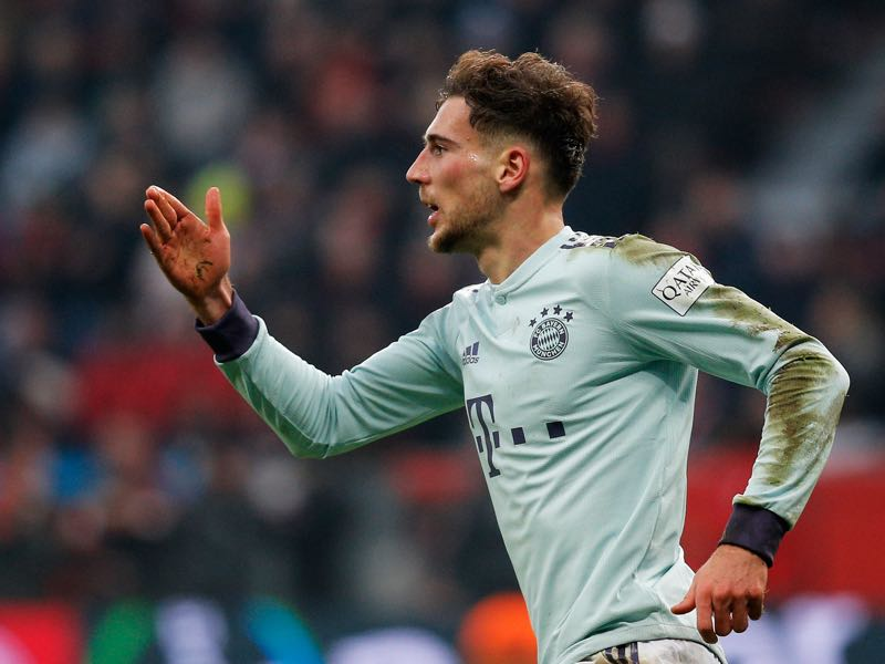 Leverkusen v Bayern - Leon Goretzka of Bayern Muenchen celebrates scoring his teams first goal of the game during the Bundesliga match between Bayer 04 Leverkusen and FC Bayern Muenchen at BayArena on February 2, 2019 in Leverkusen, Germany. (Photo by Dean Mouhtaropoulos/Bongarts/Getty Images)