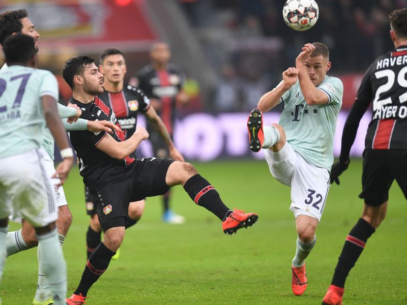Leverkusen v Bayern - Leverkusen's German forward Kevin Volland and Bayern Munich's German midfielder Joshua Kimmich vie for the ball during the German first division Bundesliga football match Bayer Leverkusen vs Bayern Munich in Leverkusen, western Germany, on February 2, 2019. (Photo by Patrik STOLLARZ / AFP)