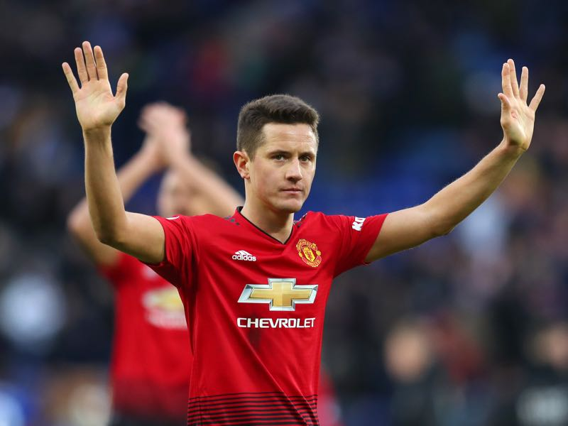 Ander Herrera of Manchester United celebrates victory following the Premier League match between Leicester City and Manchester United at The King Power Stadium on February 3, 2019 in Leicester, United Kingdom. (Photo by Catherine Ivill/Getty Images)