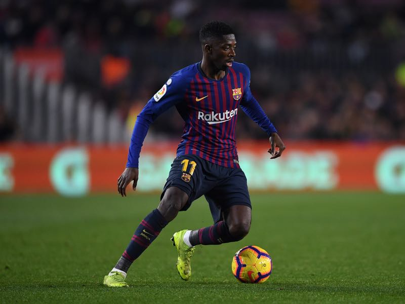 Ousmane Dembele of FC Barcelona runs with the ball during the La Liga match between FC Barcelona and CD Leganes at Camp Nou on January 20, 2019 in Barcelona, Spain. (Photo by David Ramos/Getty Images)