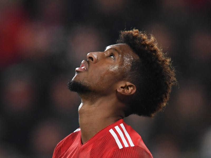 Augsburg v Bayern - Bayern Munich's French defender Kingsley Coman reacts during the German first division Bundesliga match between FC Augsburg and FC Bayern Munich in Augsburg, southern Germany, on February 15, 2019. (Photo by Christof STACHE / AFP)