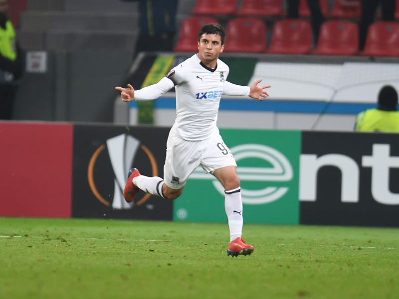 Leverkusen v Krasnodar - FK Krasnodar's Russian forward Magomed Suleymanov celebrates during the UEFA Europa League round of 32 second-leg football match between Bayer 04 Leverkusen and FC Krasnodar Leverkusen, western Germany, on February 21, 2019. (Photo by Patrik STOLLARZ / AFP)