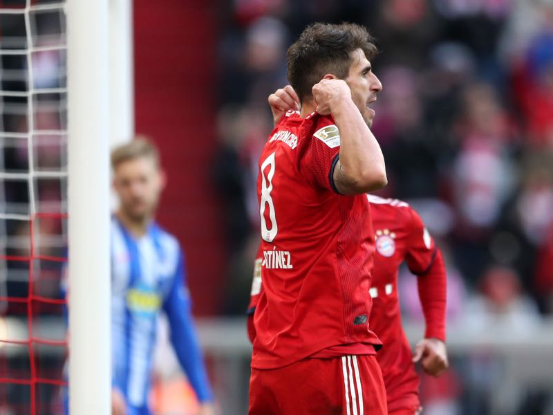 Bayern vs Hertha Berlin - Javier Martinez of Bayern Munich celebrates after scoring his team's first goal during the Bundesliga match between FC Bayern Muenchen and Hertha BSC at Allianz Arena on February 23, 2019 in Munich, Germany. (Photo by Christian Kaspar-Bartke/Bongarts/Getty Images)