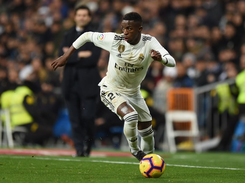 Vinicius Junior of Real Madrid in action during the La Liga match between Real Madrid CF and Deportivo Alaves at Estadio Santiago Bernabeu on February 03, 2019 in Madrid, Spain. (Photo by Denis Doyle/Getty Images)