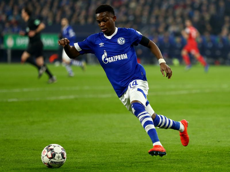 Rabbi Matondo of Schalke runs with the ball during the DFB Pokal Cup match between FC Schalke 04 and Fortuna Duesseldorf at Veltins-Arena on February 06, 2019 in Gelsenkirchen, Germany. (Photo by Lars Baron/Bongarts/Getty Images)