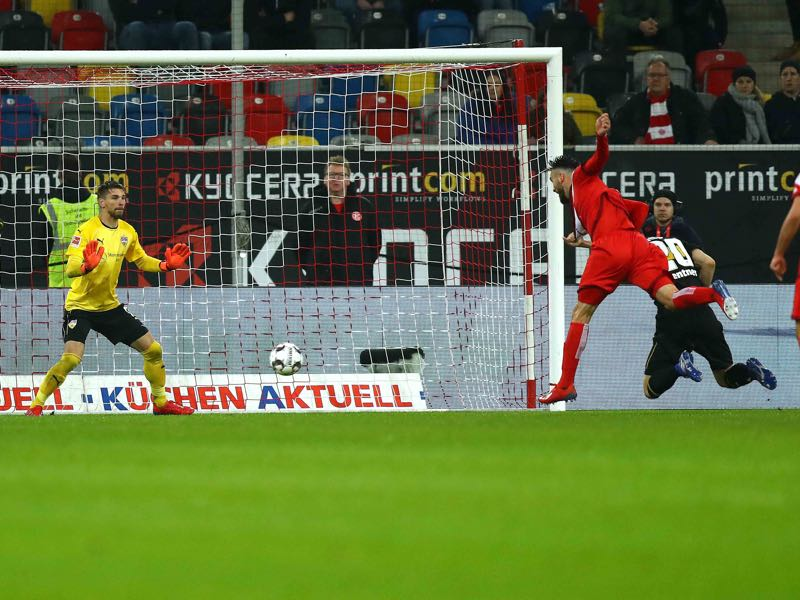 Fortuna Düsseldorf vs Stuttgart -- Kenan Karaman (3r R) of Duesseldorf scores the opening goal during the Bundesliga match between Fortuna Duesseldorf and VfB Stuttgart at Esprit-Arena on February 10, 2019 in Duesseldorf, Germany. (Photo by Maja Hitij/Bongarts/Getty Images)