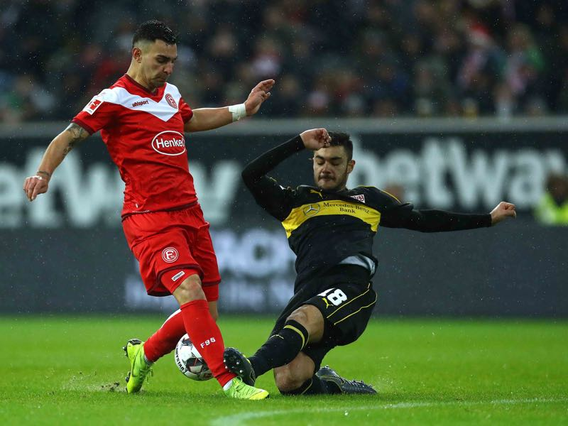 Fortuna Düsseldorf vs Stuttgart - Ozan Kabak (R) of Stuttgart battles for the ball with Kaan Ayhan of Duessldorf during the Bundesliga match between Fortuna Duesseldorf and VfB Stuttgart at Esprit-Arena on February 10, 2019 in Duesseldorf, Germany. (Photo by Maja Hitij/Bongarts/Getty Images)