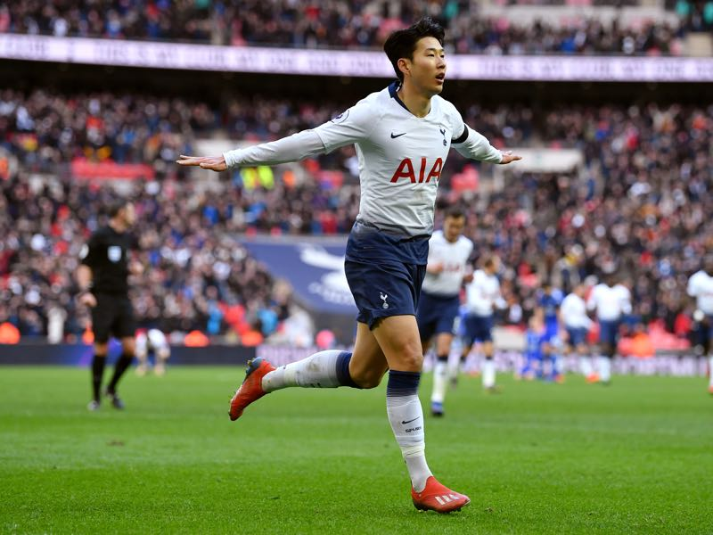 Heung-Min Son of Tottenham Hotspur celebrates scoring his teams third goal during the Premier League match between Tottenham Hotspur and Leicester City at Wembley Stadium on February 10, 2019 in London, United Kingdom. (Photo by Justin Setterfield/Getty Images)