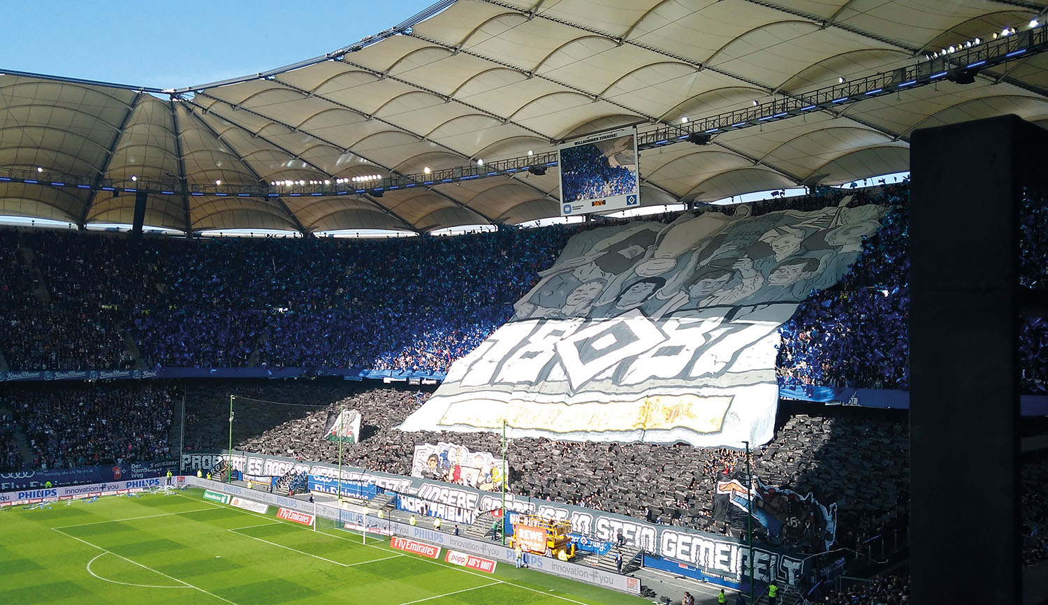 The Volksparkstadion in Hamburg is ready for the Hamburg derby