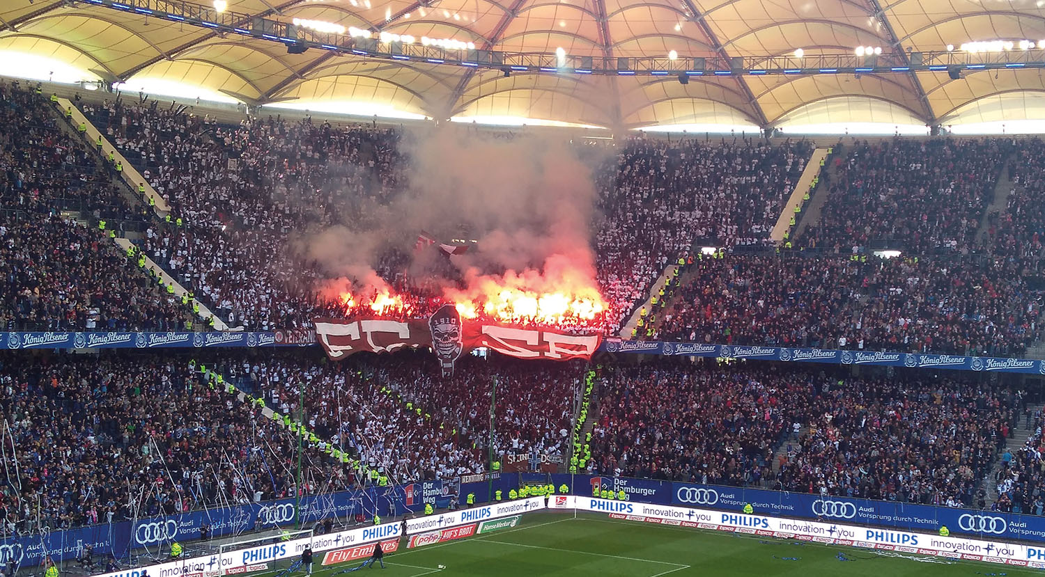 St Pauli fans are lighting up the Hamburg derby