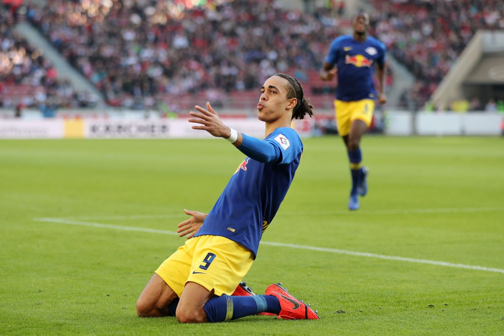 Stuttgart v RB Leipzig - Yussuf Poulsen of RB Leipzig celebrates after scoring his team's first goal during the Bundesliga match between VfB Stuttgart and RB Leipzig at Mercedes-Benz Arena on February 16, 2019 in Stuttgart, Germany. (Photo by Christian Kaspar-Bartke/Bongarts/Getty Images)