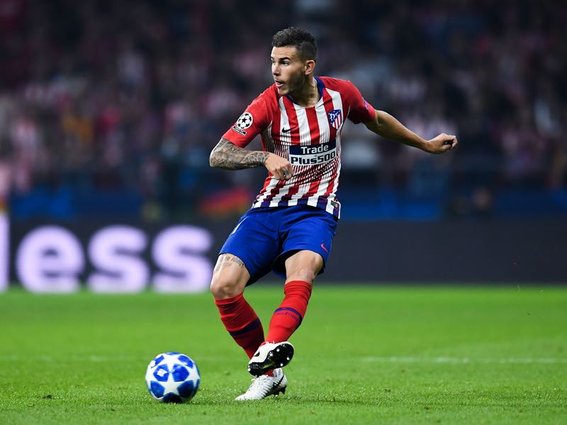 Lucas Hernández of Club Atletico de Madrid runs with the ball during the Group A match of the UEFA Champions League between Club Atletico de Madrid and Club Brugge at Estadio Wanda Metropolitano on October 3, 2018 in Madrid, Spain. (Photo by David Ramos/Getty Images)