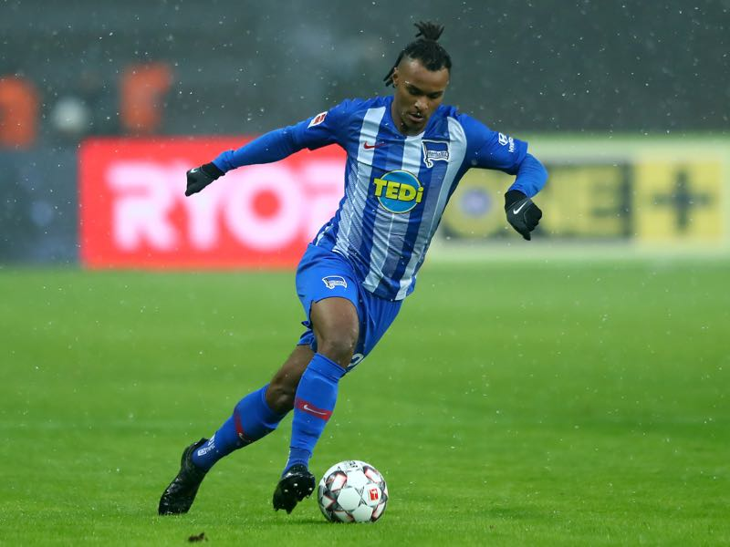 Valentino Lazaro of Berlin runs with the ball during the Bundesliga match between Hertha BSC and VfL Wolfsburg at Olympiastadion on February 02, 2019 in Berlin, Germany. (Photo by Martin Rose/Bongarts/Getty Images)