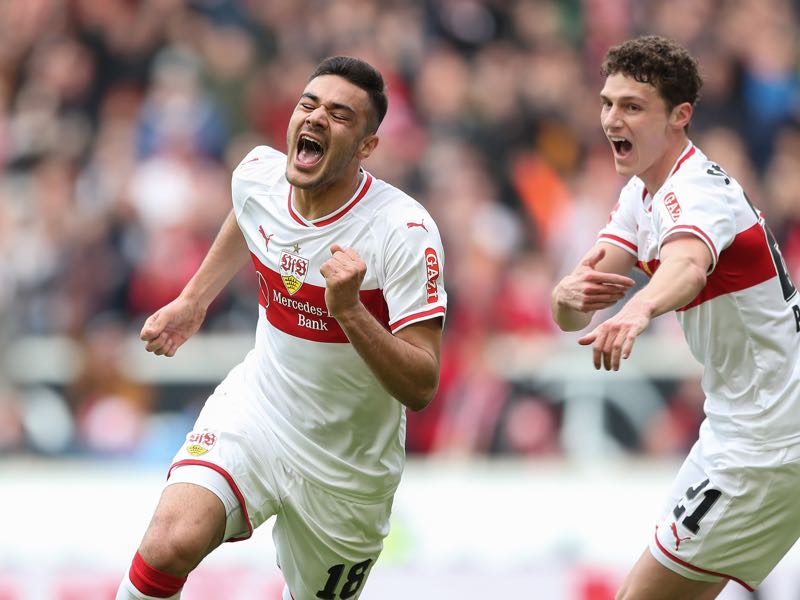 Ozan Kabak of VfB Stuttgart celebrates after scoring his team`s second goal during the Bundesliga match between VfB Stuttgart and Hannover 96 at Mercedes-Benz Arena on March 3, 2019 in Stuttgart, Germany. (Photo by Christian Kaspar-Bartke/Bongarts/Getty Images)
