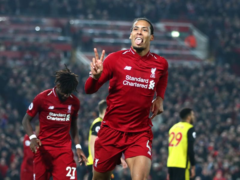 Virgil van Dijk of Liverpool celebrates after scoring his team's fifth goal during the Premier League match between Liverpool FC and Watford FC at Anfield on February 27, 2019 in Liverpool, United Kingdom. (Photo by Clive Brunskill/Getty Images)