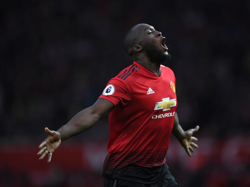 Romelu Lukaku of Manchester United celebrates after scoring the second goal during the Premier League match between Manchester United and Southampton FC at Old Trafford on March 02, 2019 in Manchester, United Kingdom. (Photo by Shaun Botterill/Getty Images)