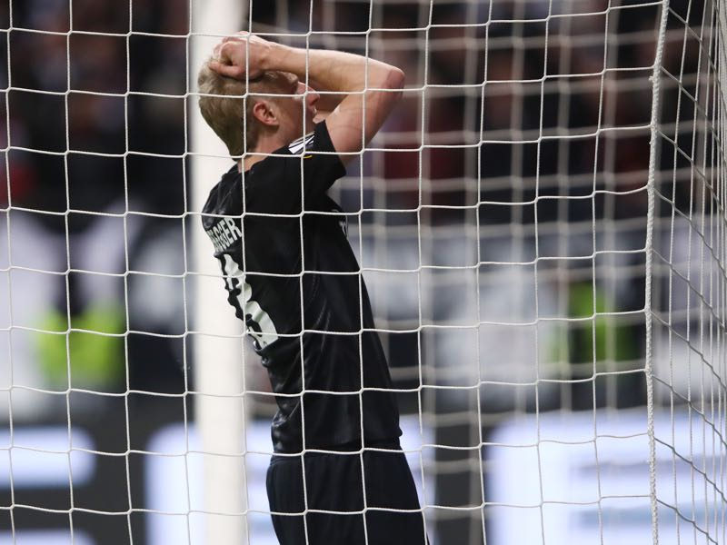 Frankfurt v Inter - Martin Hinteregger reacts during the UEFA Europa League Round of 16 First Leg match between Eintracht Frankfurt and FC Internazionale at Commerzbank-Arena on March 07, 2019 in Frankfurt am Main, Germany. (Photo by Alex Grimm/Getty Images)