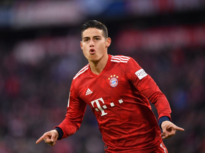 James Rodriguez of Bayern Munich celebrates scoring his team's third goal during the Bundesliga match between FC Bayern Muenchen and VfL Wolfsburg at Allianz Arena on March 09, 2019 in Munich, Germany. (Photo by Sebastian Widmann/Bongarts/Getty Images)