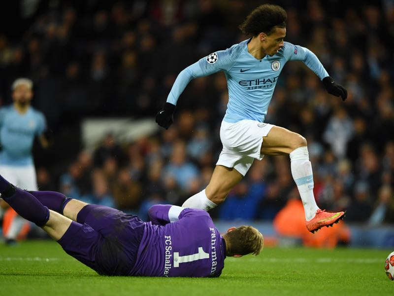 Leroy Sané of Manchester City takes the ball past Ralf Faehrmann of FC Schalke 04 and scores a goal which is later ruled offsideduring the UEFA Champions League Round of 16 Second Leg match between Manchester City v FC Schalke 04 at Etihad Stadium on March 12, 2019 in Manchester, England. (Photo by Stu Forster/Getty Images)