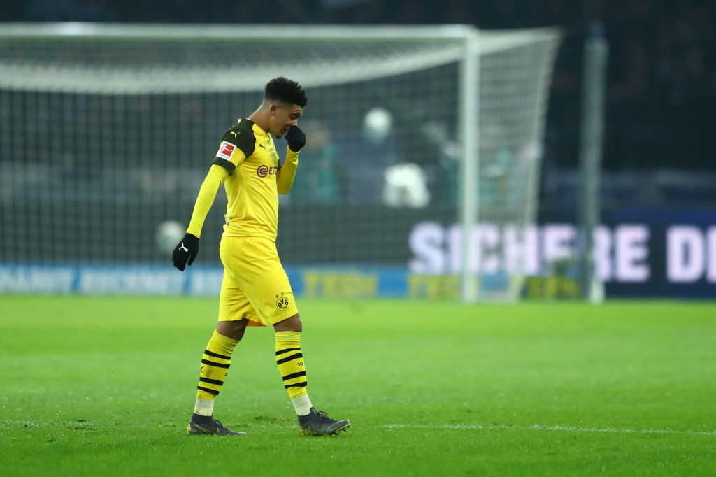 Jadon Sancho looks dejected at half-time, but his second-half performance would ensure Dortmund capture all three points. (Photo by Martin Rose/Bongarts/Getty Images)