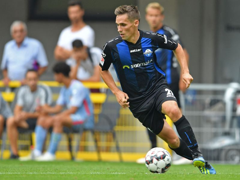 Philipp Klement of Paderborn runs with the ball during the friendly match between SC Paderborn and AS Monaco at Benteler Arena on July 21, 2018 in Paderborn, Germany. (Photo by Thomas Starke/Bongarts/Getty Images)