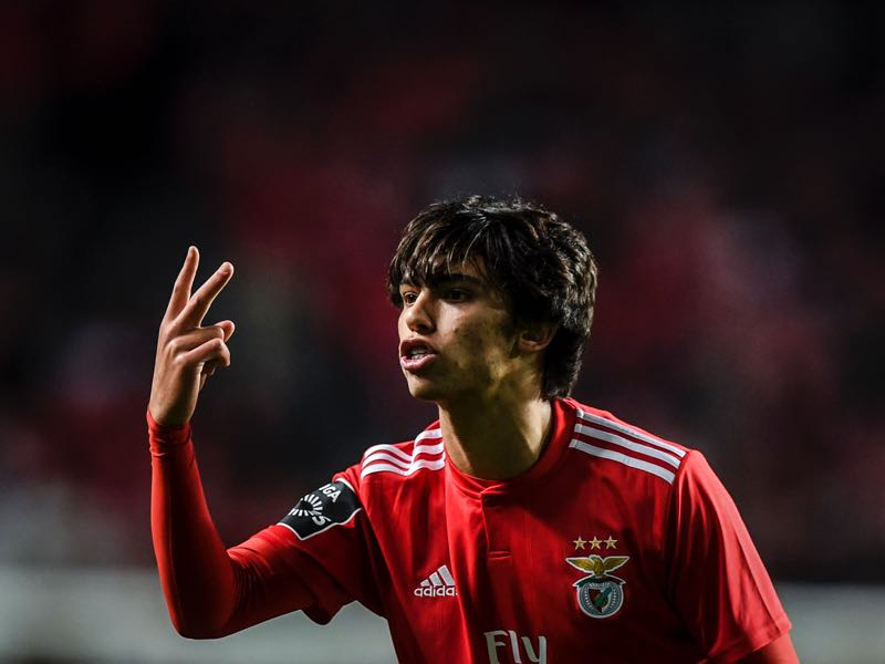 Benfica's midfielder Joao Felix gestures during the Portuguese League football match SL Benfica vs Belenenses SAD at Luz stadium in Lisbon on March 11, 2019. (Photo by PATRICIA DE MELO MOREIRA / AFP)