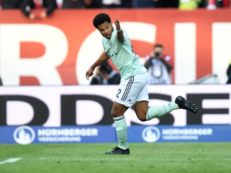 Bayern Munich's German midfielder Serge Gnabry celebrate scoring during the German first division Bundesliga football match Nuremberg v FC Bayern Munich on April 28, 2019 in Nuremberg, southern Germany. (Photo by Christof STACHE / AFP)
