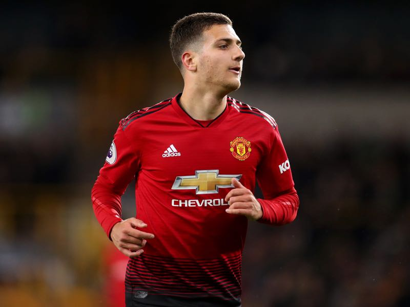 Diogo Dalot of Manchester United during the Premier League match between Wolverhampton Wanderers and Manchester United at Molineux on April 02, 2019 in Wolverhampton, United Kingdom. (Photo by Catherine Ivill/Getty Images)