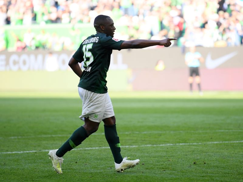 Jerome Roussillon of VfL Wolfsburg celebrates after scoring his team's third goal during the Bundesliga match between VfL Wolfsburg and Hannover 96 at Volkswagen Arena on April 06, 2019 in Wolfsburg, Germany. (Photo by Stuart Franklin/Bongarts/Getty Images)