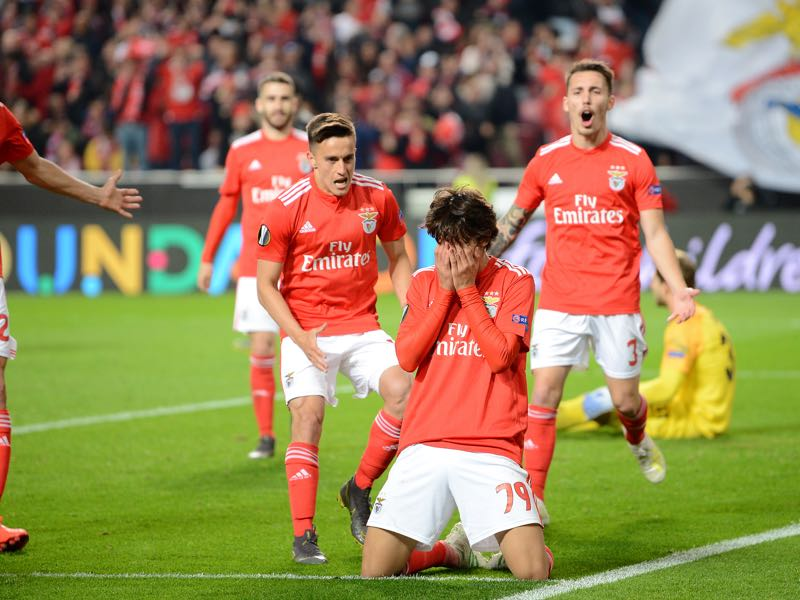 Benfica v Eintracht Frankfurt - Joao Felix of Benfica celebrates after scoring his team's fourth goal during the UEFA Europa League Quarter Final First Leg match between Benfica and Eintracht Frankfurt at Estadio do Sport Lisboa e Benfica on April 11, 2019 in Lisbon, Portugal. (Photo by Octavio Passos/Getty Images)