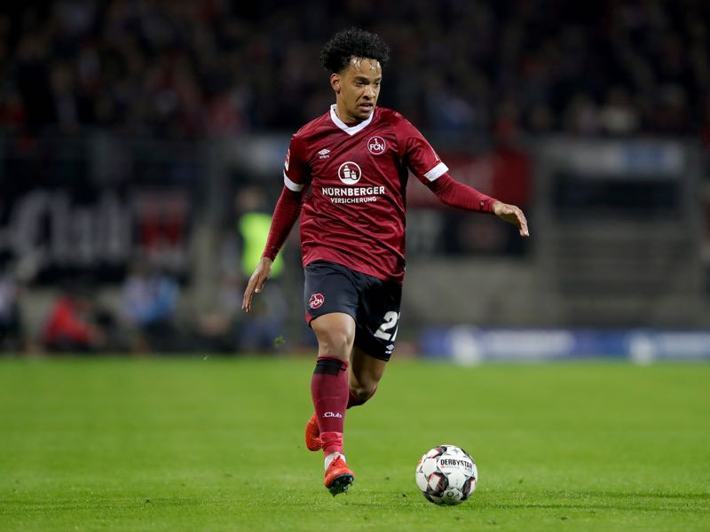 Matheus Fellipe Costa Pereira of Nuernberg runs with the ball during the Bundesliga match between 1. FC Nuernberg and FC Schalke 04 at Max-Morlock-Stadion on April 12, 2019 in Nuremberg, Germany. (Photo by Alexander Hassenstein/Bongarts/Getty Images)