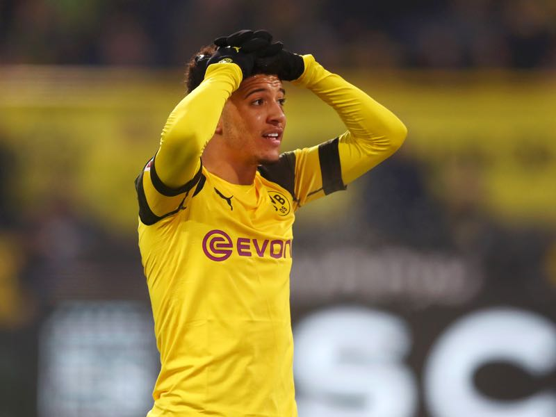 Dortmund v Mainz - Jadon Sancho of Borussia Dortmund reacts during the Bundesliga match between Borussia Dortmund and 1. FSV Mainz 05 at Signal Iduna Park on April 13, 2019 in Dortmund, Germany. (Photo by Lars Baron/Bongarts/Getty Images)