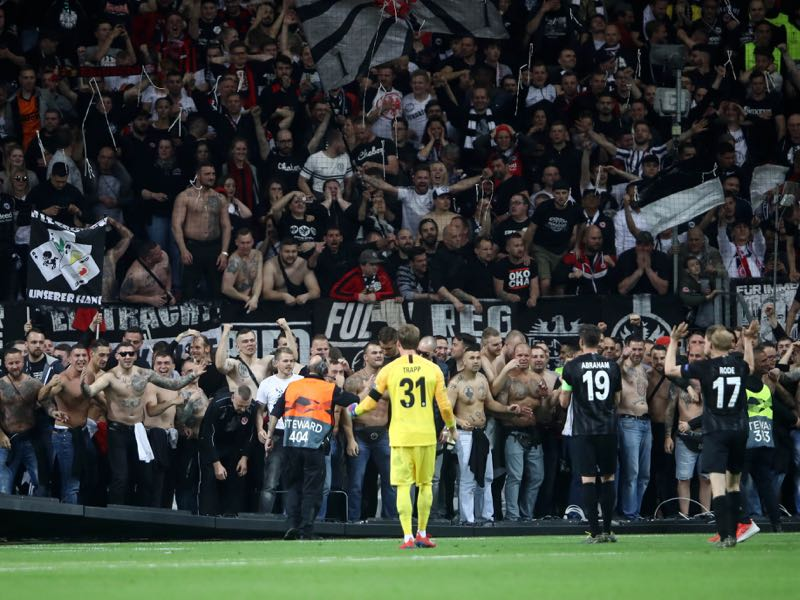 Frankfurt fans celebrate victory during the UEFA Europa League Quarter Final Second Leg match between Eintracht Frankfurt and Benfica at Commerzbank-Arena on April 18, 2019 in Frankfurt am Main, Germany. (Photo by Alex Grimm/Getty Images)