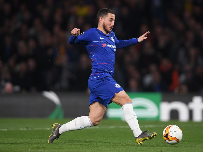 Eden Hazard of Chelsea in action during the UEFA Europa League Quarter Final Second Leg match between Chelsea and Slavia Praha at Stamford Bridge on April 18, 2019 in London, England. (Photo by Mike Hewitt/Getty Images)