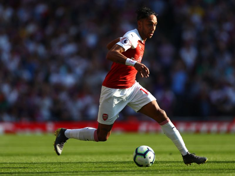 Pierre-Emerick Aubameyang during the Premier League match between Arsenal FC and Crystal Palace at Emirates Stadium on April 21, 2019 in London, United Kingdom. (Photo by Clive Rose/Getty Images)