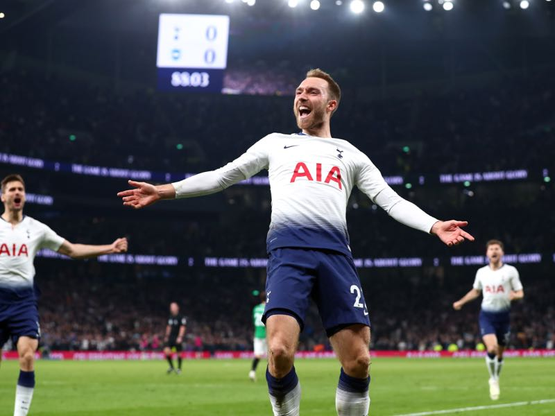 Christian Eriksen of Tottenham Hotspur celebrates after scoring his team's first goal during the Premier League match between Tottenham Hotspur and Brighton & Hove Albion at Tottenham Hotspur Stadium on April 23, 2019 in London, United Kingdom. (Photo by Clive Rose/Getty Images)
