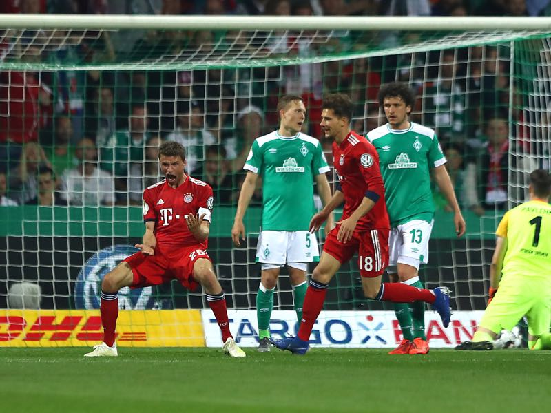 Nürnberg vs Bayern - Thomas Müller of Bayern Munich celebrates after scoring his team's second goal during the DFB Cup semi final match between Werder Bremen and FC Bayern Muenchen at Weserstadion on April 24, 2019 in Bremen, Germany. (Photo by Martin Rose/Bongarts/Getty Images)
