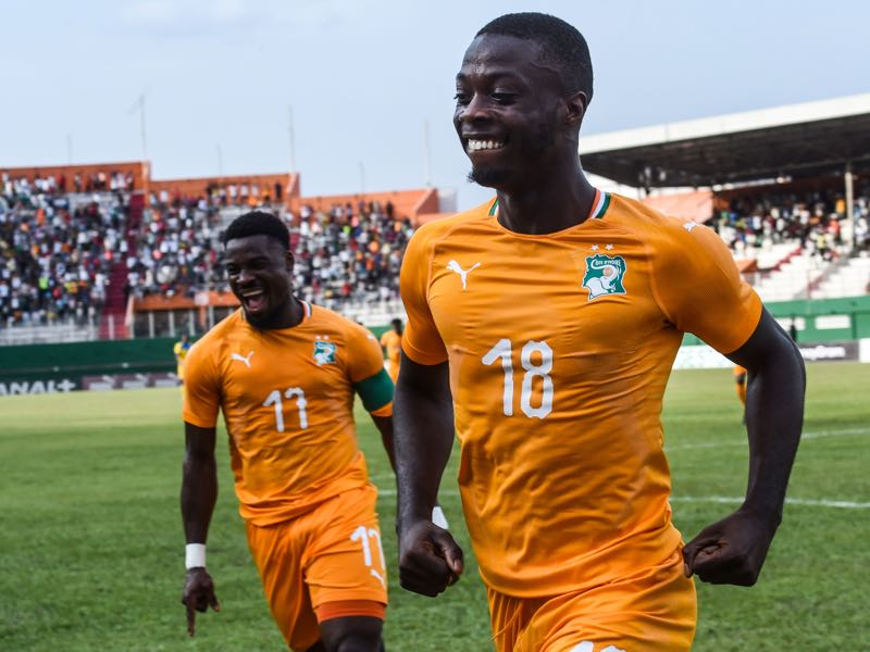 Nicolas Pépé - Ivory Coast's Serge Aurier (L) and Nicolas Pépé (R) celebrate a goal during the 2019 African Cup of Nations Group H qualification football match between Ivory Coast and Rwanda on March 23, 2019 at the Felix Houphouet-Boigny stadium in Abidjan. (Photo by ISSOUF SANOGO / AFP)