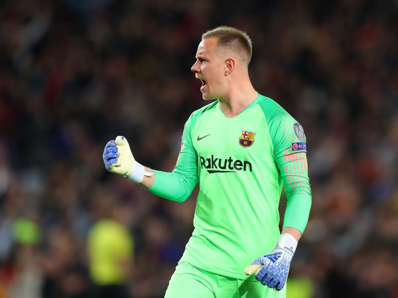 Barcelona v Liverpool - Marc-Andre Ter Stegen of Barcelona celebrates after Luis Suarez of Barcelona (not pictured) scores his sides first goal during the UEFA Champions League Semi Final first leg match between Barcelona and Liverpool at the Nou Camp on May 01, 2019 in Barcelona, Spain. (Photo by Catherine Ivill/Getty Images)