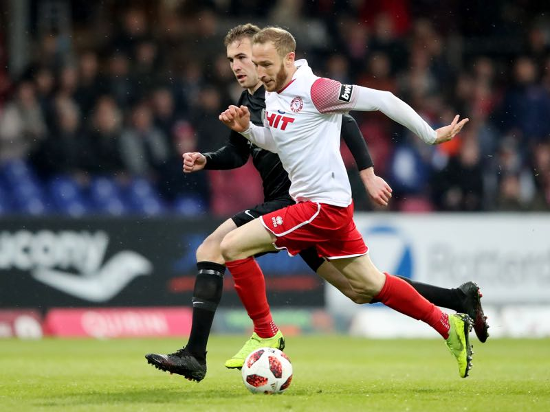 Marco Komenda of Meppen (L) challenges Moritz Hartmann of Foertuna Koeln during the 3. Liga match between SC Fortuna Koeln and SV Meppen at Suedstadion on May 06, 2019 in Cologne, Germany. (Photo by Christof Koepsel/Bongarts/Getty Images)