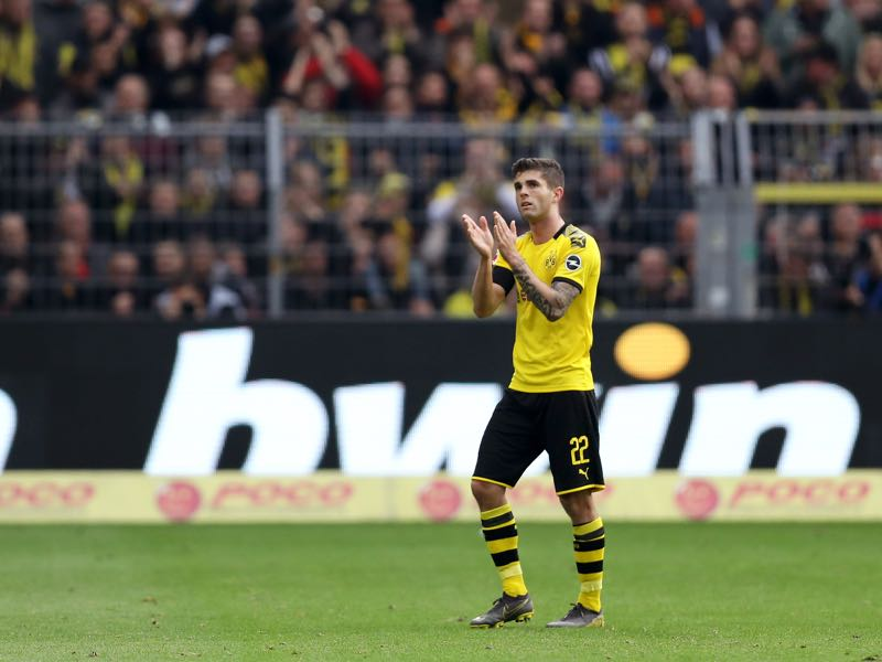 Borussia Dortmund v Düsseldorf - Christian Pulisic of Borussia Dortmund acknowledges the fans in his final game for the club during the Bundesliga match between Borussia Dortmund and Fortuna Duesseldorf at Signal Iduna Park on May 11, 2019 in Dortmund, Germany. (Photo by Maja Hitij/Bongarts/Getty Images)