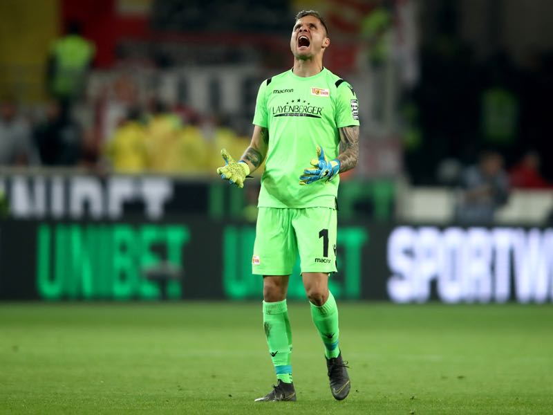 Union Berlin v Stuttgart - Rafal Gikiewicz, goalkeeper of of 1. FC Union Berlin, reacts during the Bundesliga playoff first leg match between VfB Stuttgart and 1. FC Union Berlin at Mercedes-Benz Arena on May 23, 2019 in Stuttgart, Germany. (Photo by Alex Grimm/Bongarts/Getty Images)