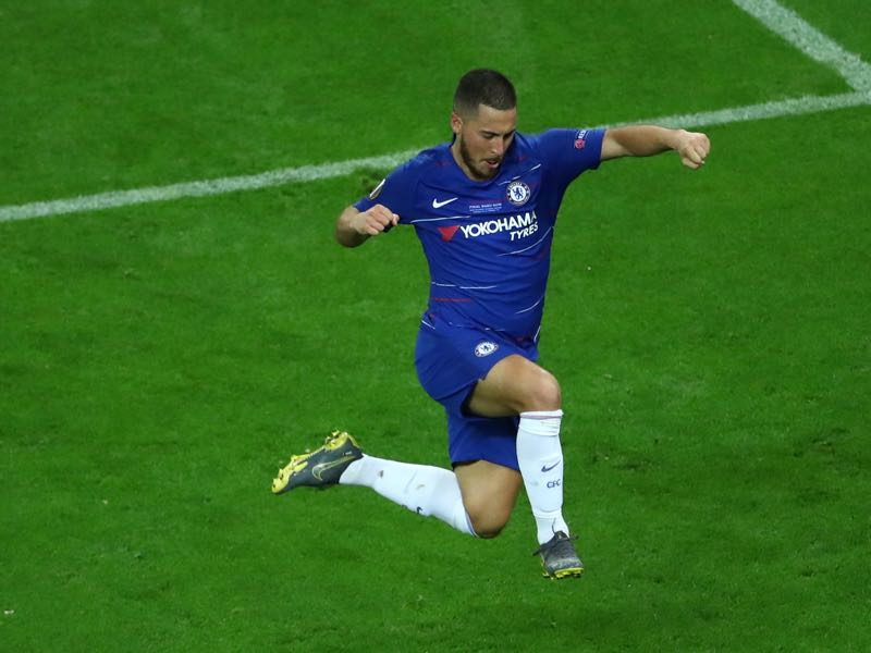 Chelsea v Arsenal - Eden Hazard of Chelsea celebrates after scoring his team's fourth goal during the UEFA Europa League Final between Chelsea and Arsenal at Baku Olimpiya Stadionu on May 29, 2019 in Baku, Azerbaijan. (Photo by Francois Nel/Getty Images)