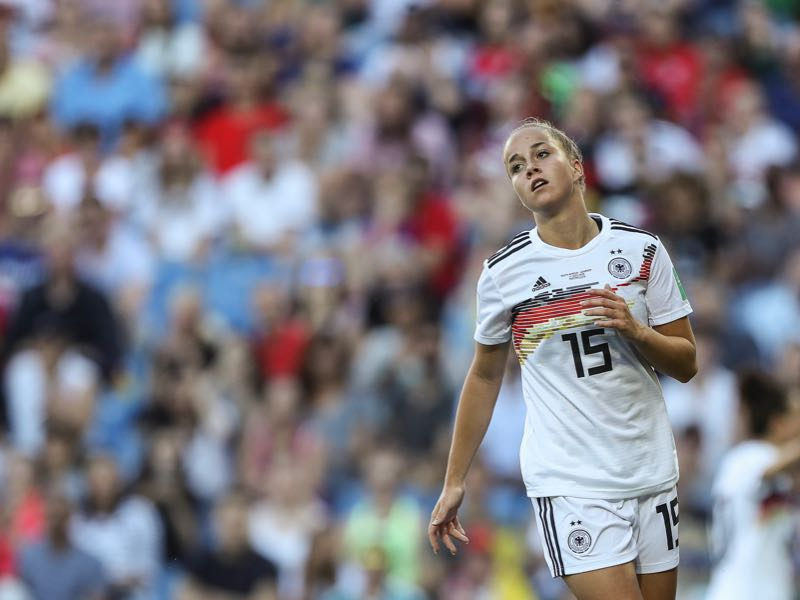 Giulia Gwinn of Germany reacts during the 2019 FIFA Women's World Cup France group B match between South Africa and Germany at Stade de la Mosson on June 17, 2019 in Montpellier, France. (Photo by Maja Hitij/Getty Images)