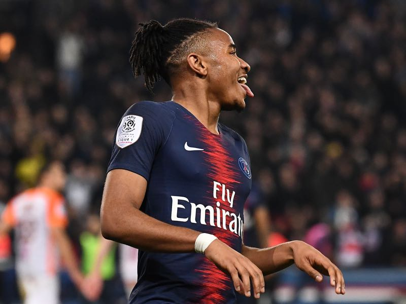aris Saint-Germain's French midfielder Christopher Nkunku celebrates after a goal during the French L1 football match between Paris Saint-Germain (PSG) and Montpellier (MHSC) at the Parc des Princes stadium in Paris on February 20, 2019. (Photo by FRANCK FIFE / AFP)