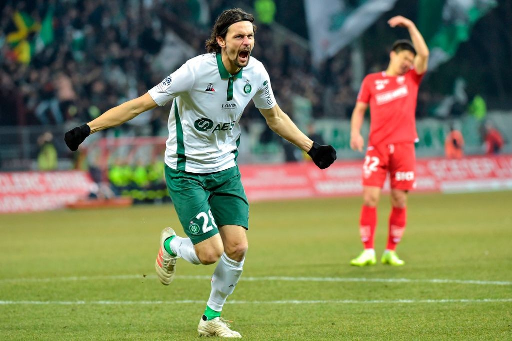 Saint-Etienne's Serbian defender Neven Subotic celebrates after scoring a goal during the French L1 football match between Dijon (DFCO) and Saint-Etienne (ASSE) on February 22, 2019, at the Gaston Gerard Stadium in Dijon, central-eastern France. (Photo by ROMAIN LAFABREGUE / AFP) (Photo credit should read ROMAIN LAFABREGUE/AFP/Getty Images)