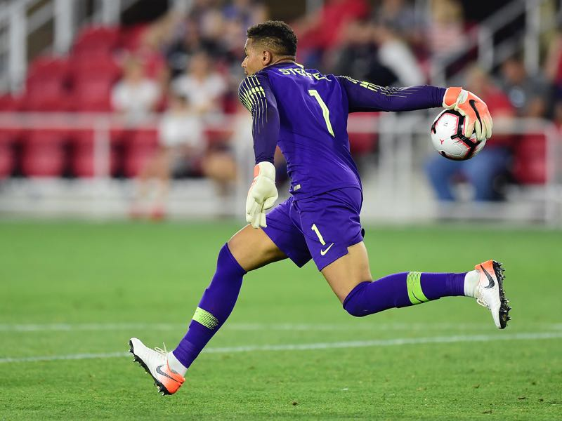 Zack Steffen #1 of the United States throws the ball in the second half against Jamaica during an International Friendly at Audi Field on June 5, 2019 in Washington, DC. (Photo by Patrick McDermott/Getty Images)